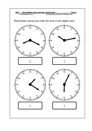 Preview of worksheet Read digital clocks and draw clock hands