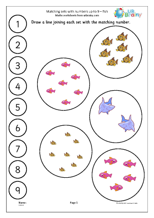 Preview of worksheet Matching fish to a number line