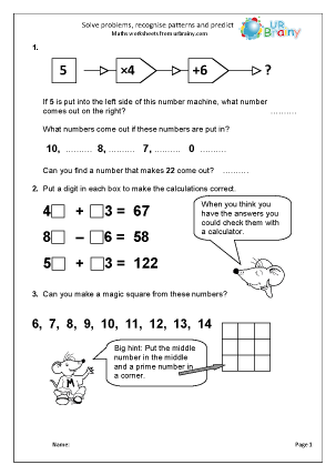 Preview of worksheet Solve problems recognise patterns and predict