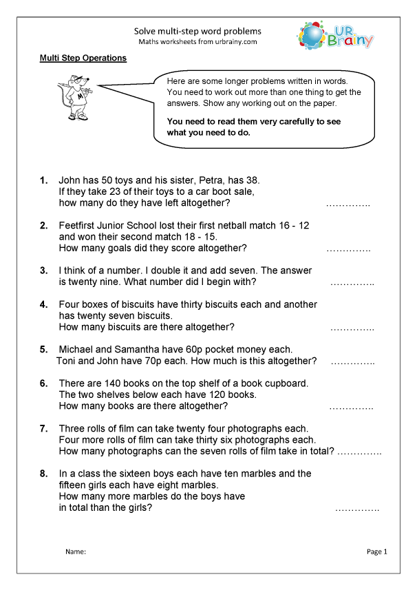 Preview of 'Solve multi step word problems'