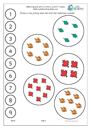 matching leaves to a number line counting and matching maths worksheets for later reception age. Black Bedroom Furniture Sets. Home Design Ideas