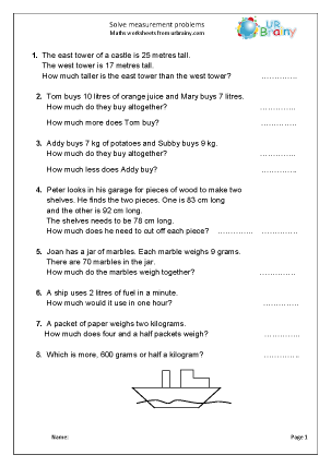 Preview of worksheet Solve problems involving length mass or capacity