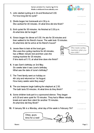 Preview of worksheet Solve problems involving time