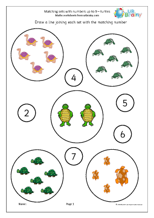 Preview of worksheet Matching sets to numbers: turtles