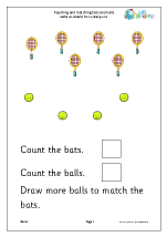 Count and Draw More to Match Bats And Balls