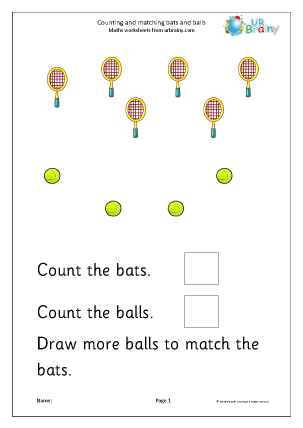 Preview of worksheet Count and draw more to match bats and balls
