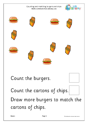 Count and Draw More to Match Burgers and Chips