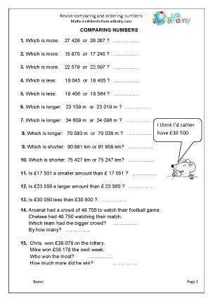 Number homework ks2