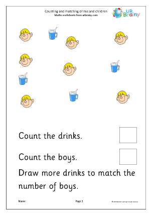 Count and draw more to match children and drinks