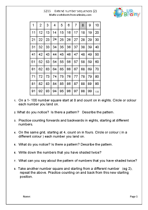 extending number sequences 2 number and place value maths worksheets for year 5 age 9 10. Black Bedroom Furniture Sets. Home Design Ideas