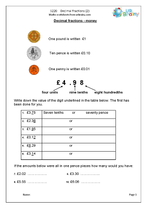 Preview of worksheet  Decimal fractions (2)