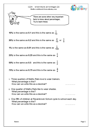 Preview of worksheet  Understand percentages (2)
