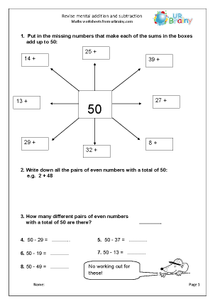 Preview of worksheet  Revise mental addition and subtraction