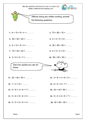 Preview of worksheet  Mental addition of several small numbers (1)