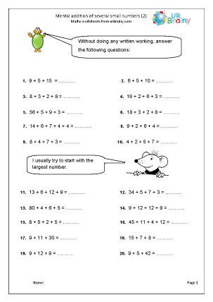 Preview of worksheet  Mental addition of several numbers (2)
