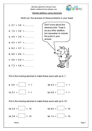 Mental addition of decimals