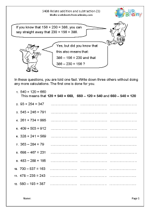 Preview of worksheet  Relate addition and subtraction (1)