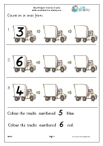 count on from a number trucks counting on and back maths worksheets for later reception age 4 5. Black Bedroom Furniture Sets. Home Design Ideas