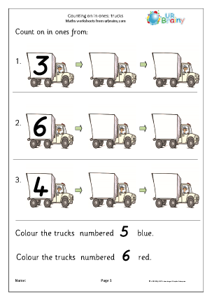 Preview of worksheet Count on from a number - trucks