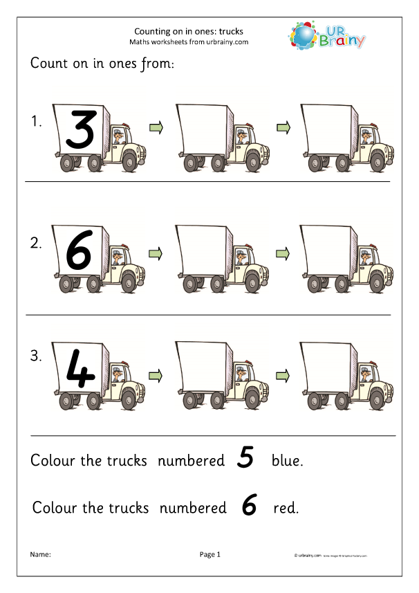 Preview of 'Count on from a number - trucks'