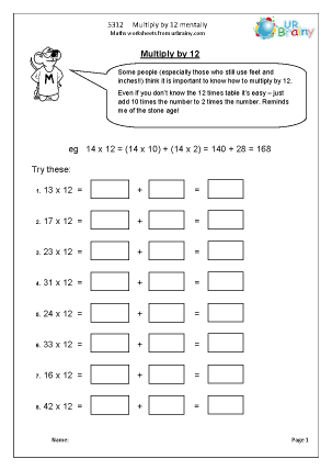 Preview of worksheet   Multiply by 12 mentally