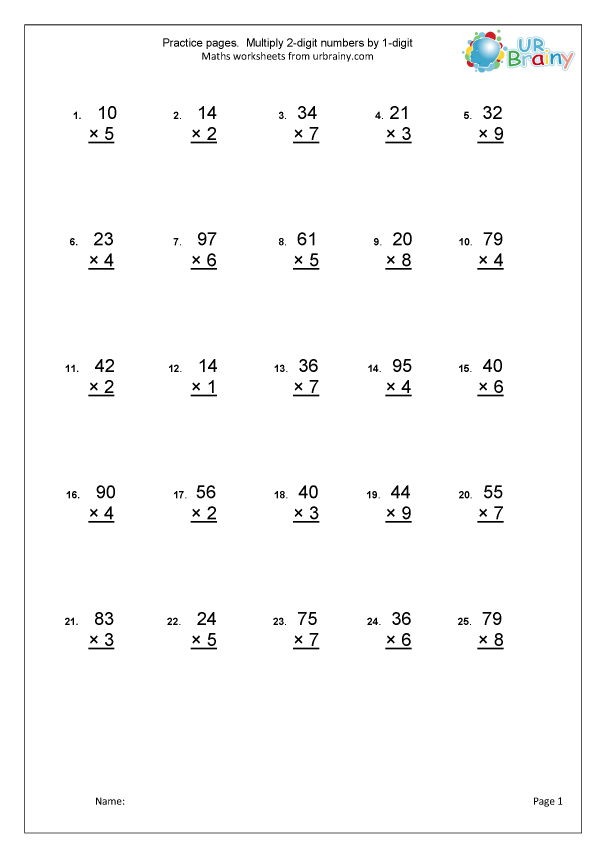 Multiplication practice: two digits by one digit ...