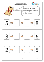 count on from a number dogs counting on and back maths worksheets for later reception age 4 5. Black Bedroom Furniture Sets. Home Design Ideas