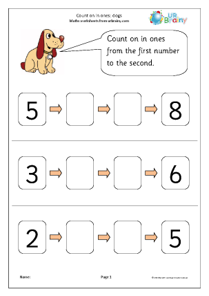 Preview of worksheet Count on from a number - dogs