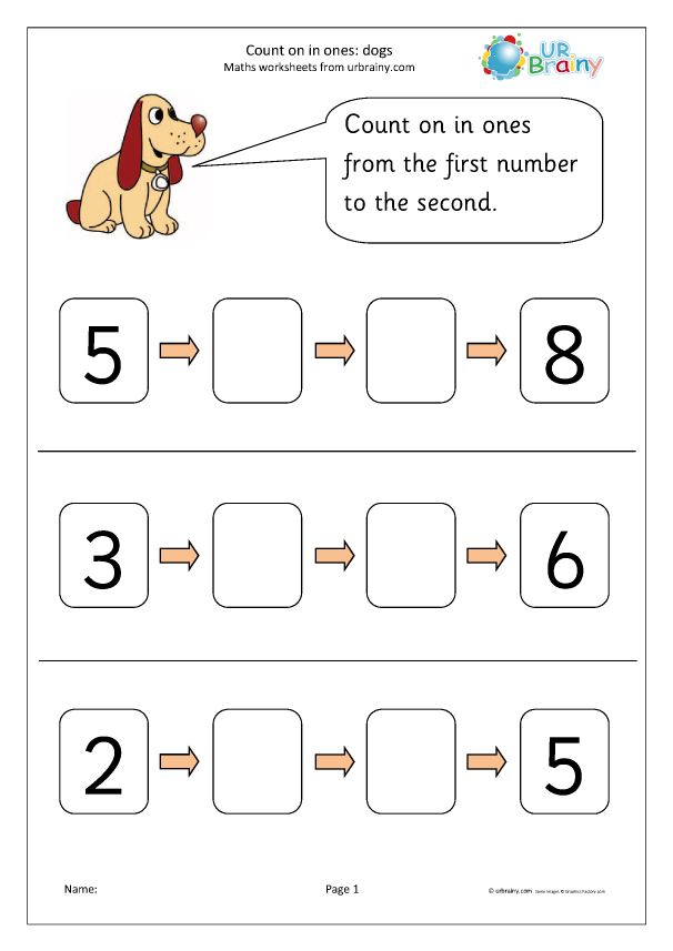 Preview of 'Count on from a number - dogs'