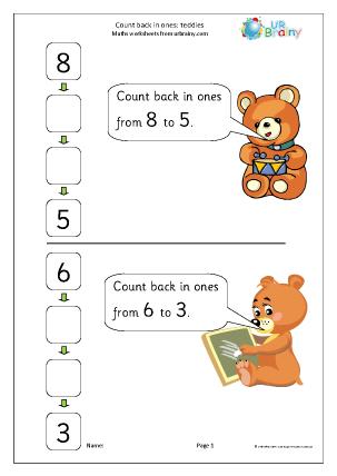 Preview of worksheet Count back in ones - teddies