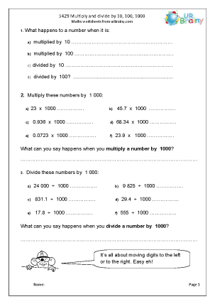 Preview of worksheet  Multiply and divide by 10, 100 and 1000