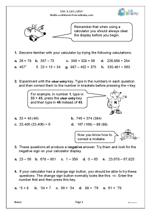 Preview of worksheet  Use a calculator