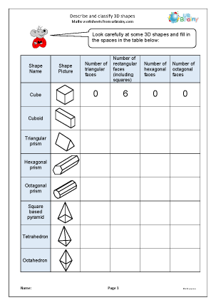 Preview of worksheet  Describe and classify 3D shapes