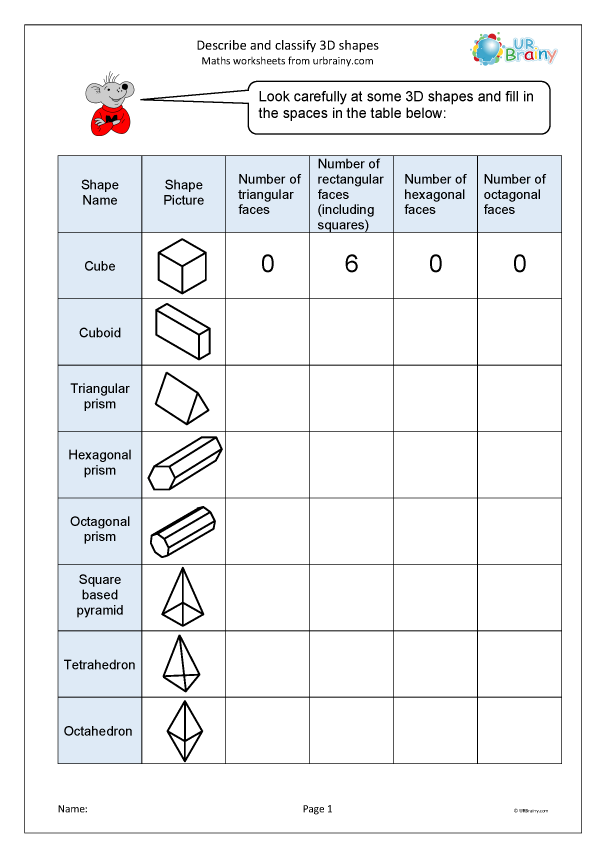 Preview of ' Describe and classify 3D shapes'
