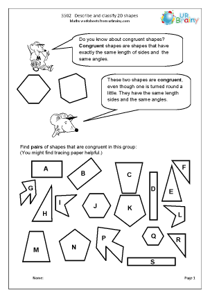 Preview of worksheet Describe and classify 2D shapes