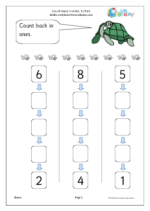 Preview of worksheet Count back in ones - turtles