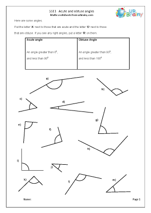 Preview of worksheet Acute and obtuse angles (1)