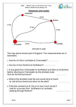 measuring in kilometres measuring maths worksheets for year 5 age 9 10. Black Bedroom Furniture Sets. Home Design Ideas