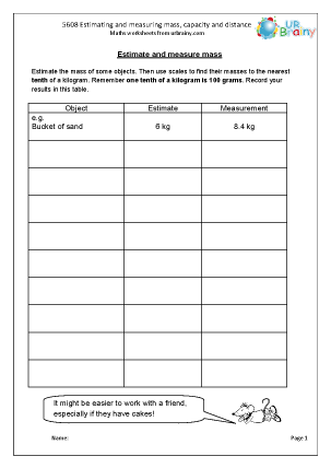 Preview of worksheet  Estimating and measuring mass, capacity and distance