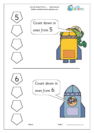 Preview of worksheet Counting Down From - Astronauts