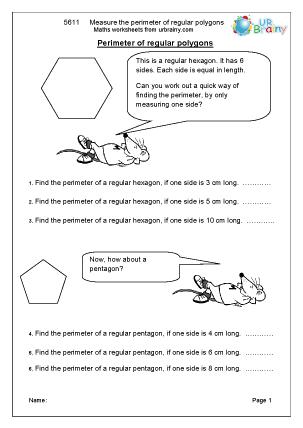 Preview of worksheet  Measure the perimeter of regular polygons