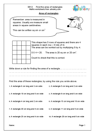Preview of worksheet  Find the area of rectangles