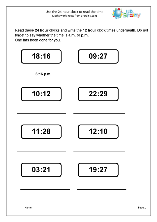 Preview of 'Use the 24 hour clock to read time'