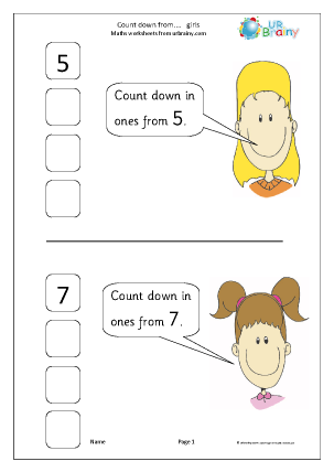Preview of worksheet Counting Down From - Girls