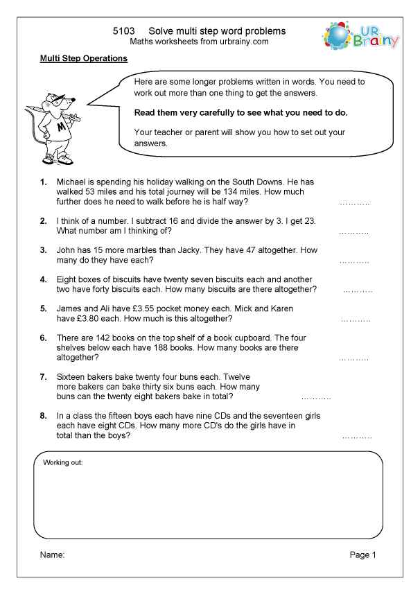 Preview of ' Solve multi step word problems'