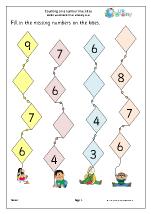 counting kites on a number line number lines maths worksheets for later reception age 4 5. Black Bedroom Furniture Sets. Home Design Ideas
