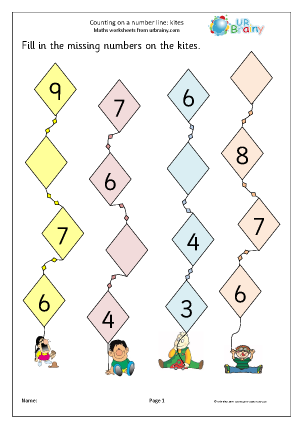 Preview of worksheet Counting on a number line (kites)
