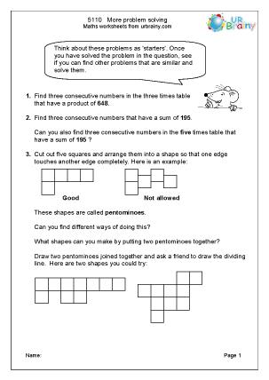 Preview of worksheet  More problem solving