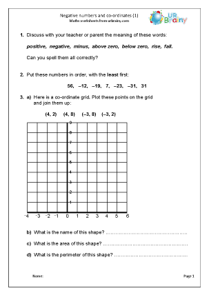 Preview of worksheet  Negative numbers using co-ordinates (1)
