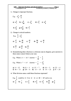 Preview of worksheet  Improper fractions and mixed numbers